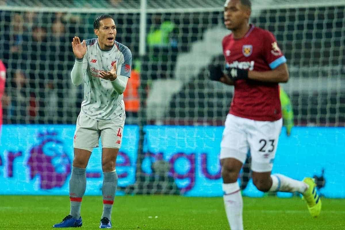 LONDON, ENGLAND - Monday, February 4, 2019: Liverpool's Virgil van Dijk looks dejected as West Ham United score an equalising goal during the FA Premier League match between West Ham United FC and Liverpool FC at the London Stadium. (Pic by David Rawcliffe/Propaganda)