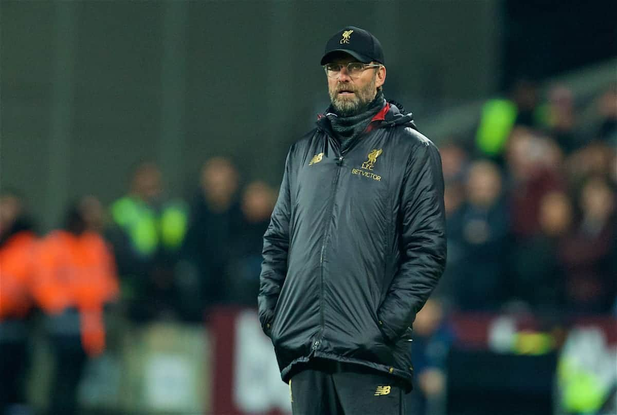 LONDON, ENGLAND - Monday, February 4, 2019: Liverpool's manager Jürgen Klopp during the FA Premier League match between West Ham United FC and Liverpool FC at the London Stadium. (Pic by David Rawcliffe/Propaganda)