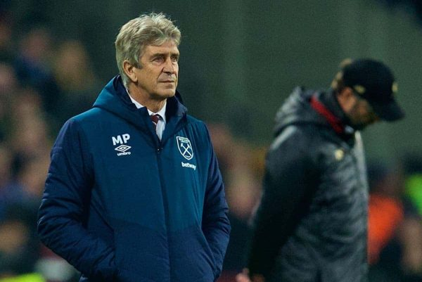 LONDON, ENGLAND - Monday, February 4, 2019: West Ham United's manager Manuel Pellegrini during the FA Premier League match between West Ham United FC and Liverpool FC at the London Stadium. (Pic by David Rawcliffe/Propaganda)