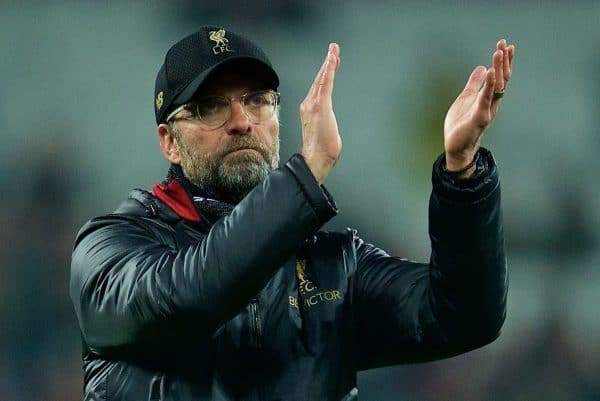 LONDON, ENGLAND - Monday, February 4, 2019: Liverpool's manager J¸rgen Klopp applauds the supporters after the 1-1 draw during the FA Premier League match between West Ham United FC and Liverpool FC at the London Stadium. (Pic by David Rawcliffe/Propaganda)