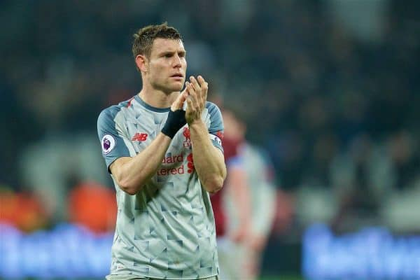 LONDON, ENGLAND - Monday, February 4, 2019: Liverpool's captain James Milner applauds the supporters after the 1-1 draw during the FA Premier League match between West Ham United FC and Liverpool FC at the London Stadium. (Pic by David Rawcliffe/Propaganda)