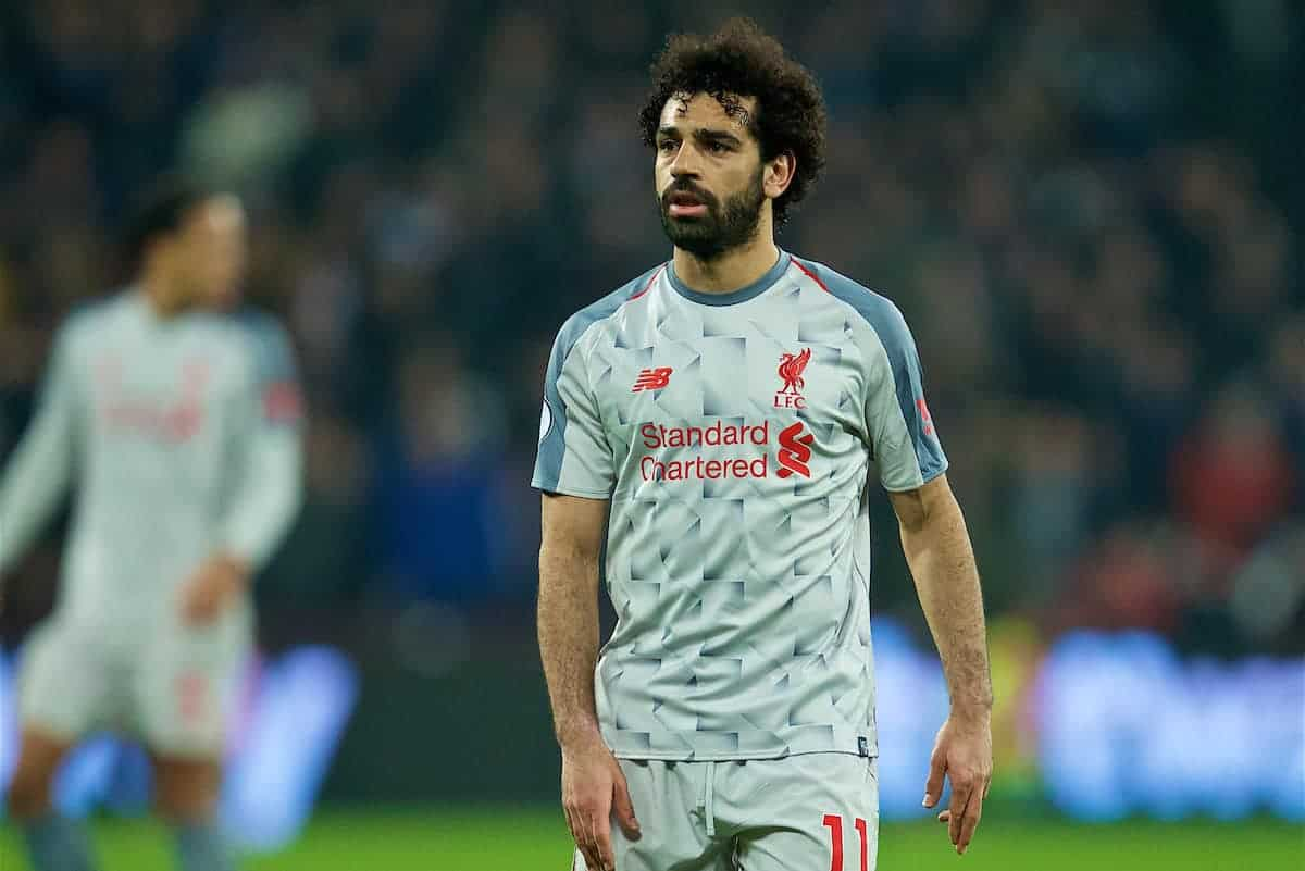 LONDON, ENGLAND - Monday, February 4, 2019: Liverpool's Mohamed Salah looks dejected during the FA Premier League match between West Ham United FC and Liverpool FC at the London Stadium. (Pic by David Rawcliffe/Propaganda)