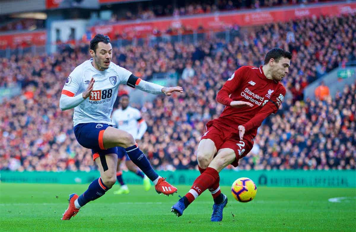 LIVERPOOL, ENGLAND - Saturday, February 9, 2019: AFC Bournemouth's Adam Smith (L) and Liverpool's Andy Robertson (R) during the FA Premier League match between Liverpool FC and AFC Bournemouth at Anfield. (Pic by David Rawcliffe/Propaganda)