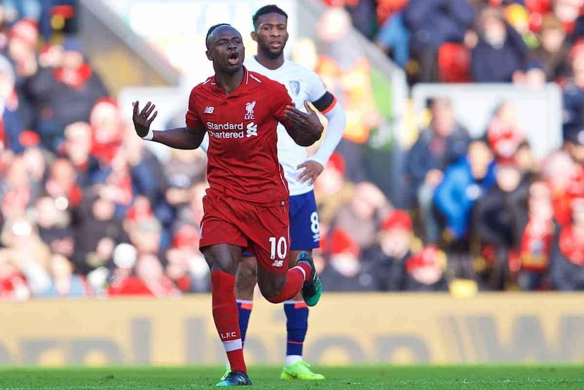 Liverpool's Sadio Mane during the FA Premier League match between Liverpool FC and AFC Bournemouth at Anfield