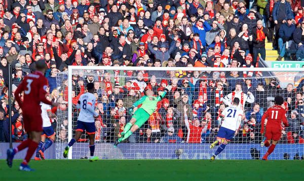LIVERPOOL, ENGLAND - Saturday, February 9, 2019: AFC Bournemouth's goalkeeper Artur Boruc is beaten for second goal, scored by Georginio Wijnaldum, during the FA Premier League match between Liverpool FC and AFC Bournemouth at Anfield. (Pic by David Rawcliffe/Propaganda)