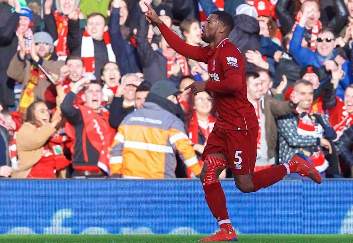LIVERPOOL, ENGLAND - Saturday, February 9, 2019: Liverpool's Georginio Wijnaldum celebrates scoring the second goal during the FA Premier League match between Liverpool FC and AFC Bournemouth at Anfield. (Pic by David Rawcliffe/Propaganda)