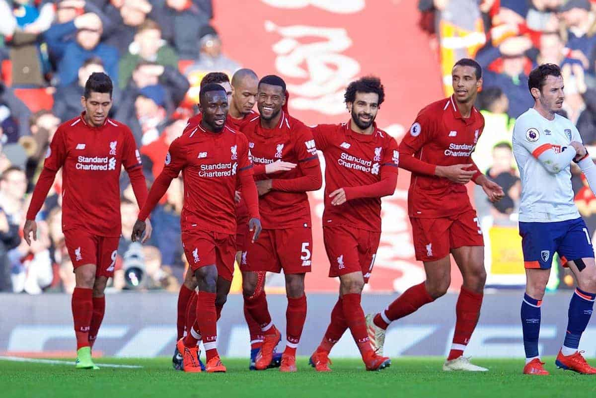 LIVERPOOL, ENGLAND - Saturday, February 9, 2019: Liverpool's Georginio Wijnaldum celebrates scoring the second goal with team-mates during the FA Premier League match between Liverpool FC and AFC Bournemouth at Anfield. (Pic by David Rawcliffe/Propaganda)