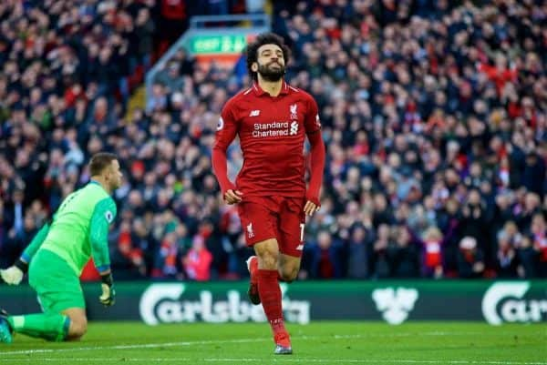 LIVERPOOL, ENGLAND - Saturday, February 9, 2019: Liverpool's Mohamed Salah celebrates scoring the third goal during the FA Premier League match between Liverpool FC and AFC Bournemouth at Anfield. (Pic by David Rawcliffe/Propaganda)