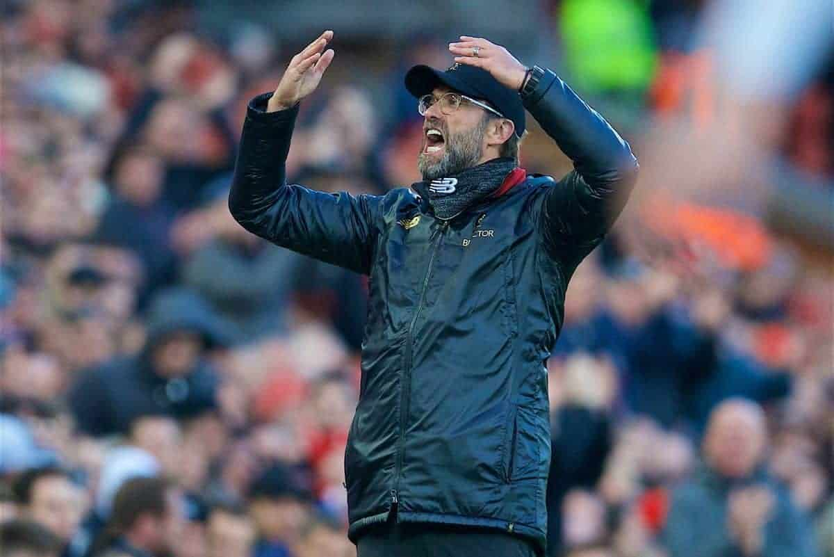 LIVERPOOL, ENGLAND - Saturday, February 9, 2019: Liverpool's manager J¸rgen Klopp reacts during the FA Premier League match between Liverpool FC and AFC Bournemouth at Anfield. (Pic by David Rawcliffe/Propaganda)