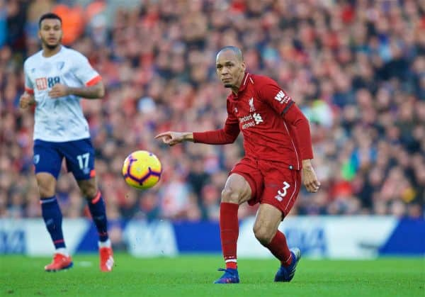 LIVERPOOL, ENGLAND - Saturday, February 9, 2019: Liverpool's Fabio Henrique Tavares 'Fabinho' during the FA Premier League match between Liverpool FC and AFC Bournemouth at Anfield. (Pic by David Rawcliffe/Propaganda)