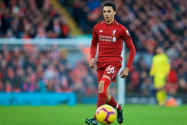 LIVERPOOL, ENGLAND - Saturday, February 9, 2019: Liverpool's Trent Alexander-Arnold