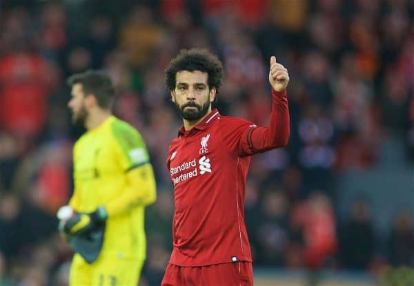 LIVERPOOL, ENGLAND - Saturday, February 9, 2019: Liverpool's Mohamed Salah celebrates after the 3-0 victory over AFC Bournemouth during the FA Premier League match between Liverpool FC and AFC Bournemouth at Anfield. (Pic by David Rawcliffe/Propaganda)