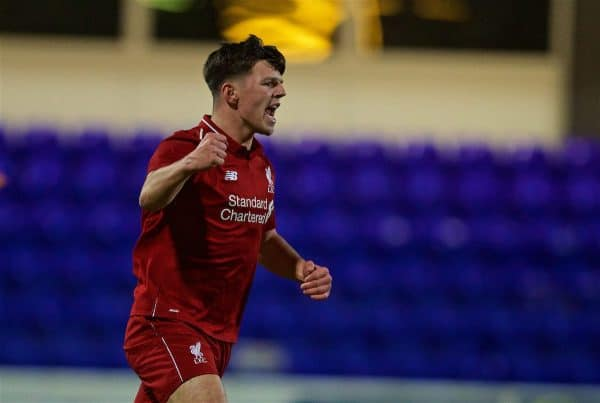 CHESTER, ENGLAND - Wednesday, February 13, 2019: Liverpool's Bobby Duncan celebrates scoring the second goal during the FA Youth Cup 5th Round match between Liverpool FC and Wigan Athletic FC at the Deva Stadium. (Pic by David Rawcliffe/Propaganda)