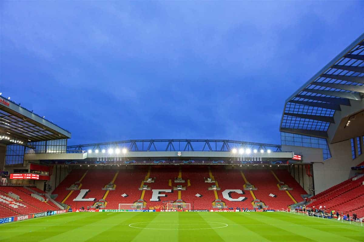 LIVERPOOL, ENGLAND - Tuesday, February 19, 2019: A general view of Anfield, facing the Spion Kop, before the UEFA Champions League Round of 16 1st Leg match between Liverpool FC and FC Bayern München at Anfield. (Pic by David Rawcliffe/Propaganda)