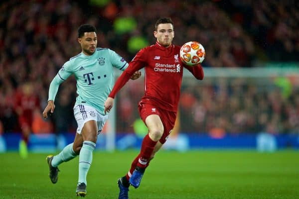 Liverpool's Andy Robertson during the UEFA Champions League Round of 16 1st Leg match between Liverpool FC and FC Bayern München at Anfield. (Pic by David Rawcliffe/Propaganda)