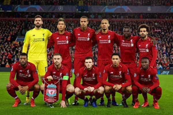 LIVERPOOL, ENGLAND - Tuesday, February 19, 2019: Liverpool's players line-up for a team group photograph before the UEFA Champions League Round of 16 1st Leg match between Liverpool FC and FC Bayern M¸nchen at Anfield. Back row L-R: goalkeeper Alisson Becker, Roberto Firmino, Joel Matip, Fabio Henrique Tavares 'Fabinho', Sadio Mane, Mohamed Salah. Front row L-R: Georginio Wijnaldum, captain Jordan Henderson, Andy Robertson, Trent Alexander-Arnold, Naby Keita.(Pic by David Rawcliffe/Propaganda)