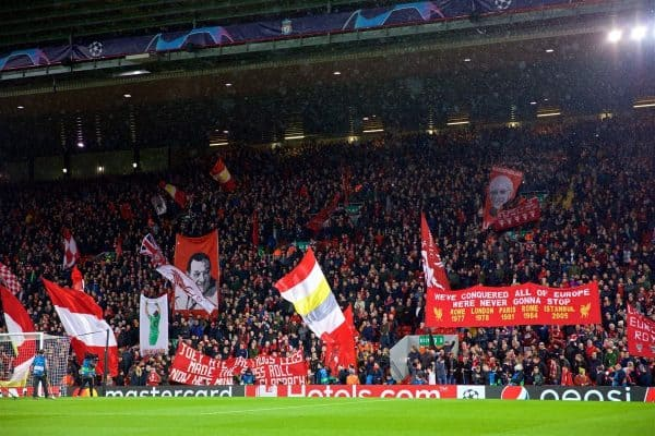 LIVERPOOL, ENGLAND - Tuesday, February 19, 2019: Liverpool supporters on the Spion Kop before the UEFA Champions League Round of 16 1st Leg match between Liverpool FC and FC Bayern M¸nchen at Anfield. (Pic by David Rawcliffe/Propaganda)