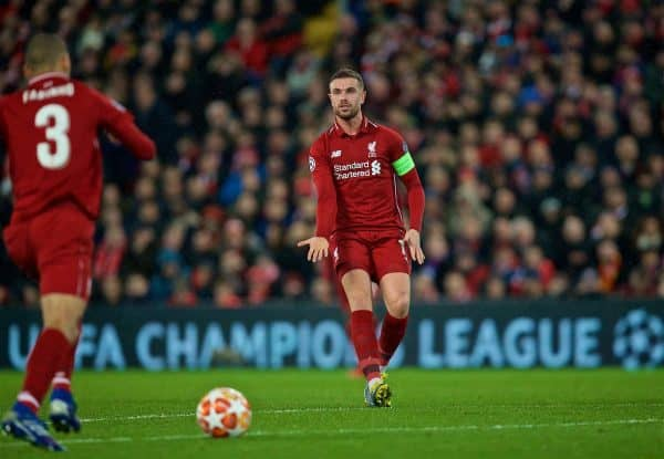 Liverpool's captain Jordan Henderson during the UEFA Champions League Round of 16 1st Leg match between Liverpool FC and FC Bayern München at Anfield. (Pic by David Rawcliffe/Propaganda)