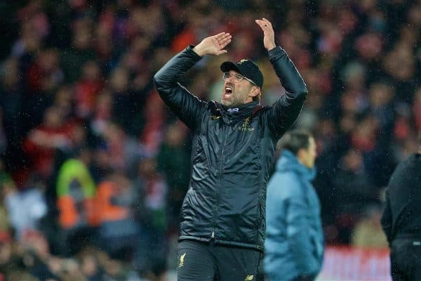 LIVERPOOL, ENGLAND - Tuesday, February 19, 2019: Liverpool's manager Jürgen Klopp reacts during the UEFA Champions League Round of 16 1st Leg match between Liverpool FC and FC Bayern München at Anfield. (Pic by David Rawcliffe/Propaganda)