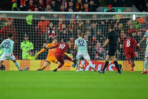 LIVERPOOL, ENGLAND - Tuesday, February 19, 2019: Liverpool's Sadio Mane shoots during the UEFA Champions League Round of 16 1st Leg match between Liverpool FC and FC Bayern M¸nchen at Anfield. (Pic by David Rawcliffe/Propaganda)