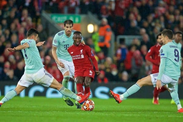 LIVERPOOL, ENGLAND - Tuesday, February 19, 2019: Liverpool's Naby Keita during the UEFA Champions League Round of 16 1st Leg match between Liverpool FC and FC Bayern M¸nchen at Anfield. (Pic by David Rawcliffe/Propaganda)