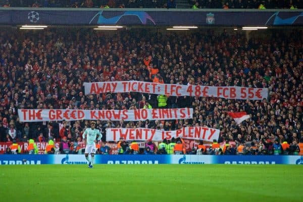 LIVERPOOL, ENGLAND - Tuesday, February 19, 2019: FC Bayern Munich supportersí banner ìTwenty is Plentyî protesting against high ticket prices during the UEFA Champions League Round of 16 1st Leg match between Liverpool FC and FC Bayern M¸nchen at Anfield. (Pic by David Rawcliffe/Propaganda)