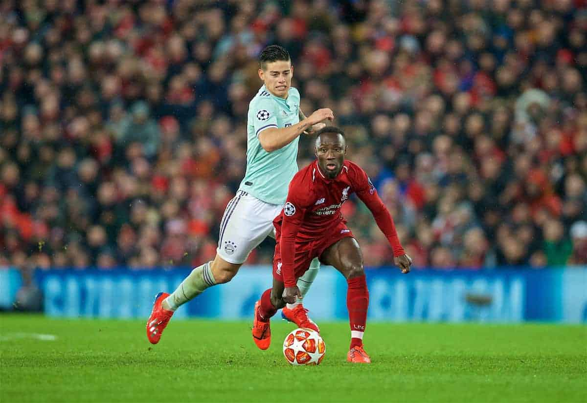LIVERPOOL, ENGLAND - Tuesday, February 19, 2019: Liverpool's Naby Keita during the UEFA Champions League Round of 16 1st Leg match between Liverpool FC and FC Bayern München at Anfield. (Pic by David Rawcliffe/Propaganda)