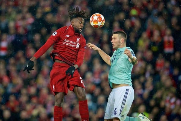 LIVERPOOL, ENGLAND - Tuesday, February 19, 2019: Liverpool's Divock Origi (L) and FC Bayern Munich's Niklas Süle during the UEFA Champions League Round of 16 1st Leg match between Liverpool FC and FC Bayern München at Anfield. (Pic by David Rawcliffe/Propaganda)