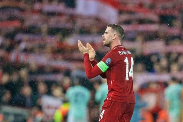 LIVERPOOL, ENGLAND - Tuesday, February 19, 2019: Liverpool's captain Jordan Henderson after the UEFA Champions League Round of 16 1st Leg match between Liverpool FC and FC Bayern München at Anfield. (Pic by David Rawcliffe/Propaganda)