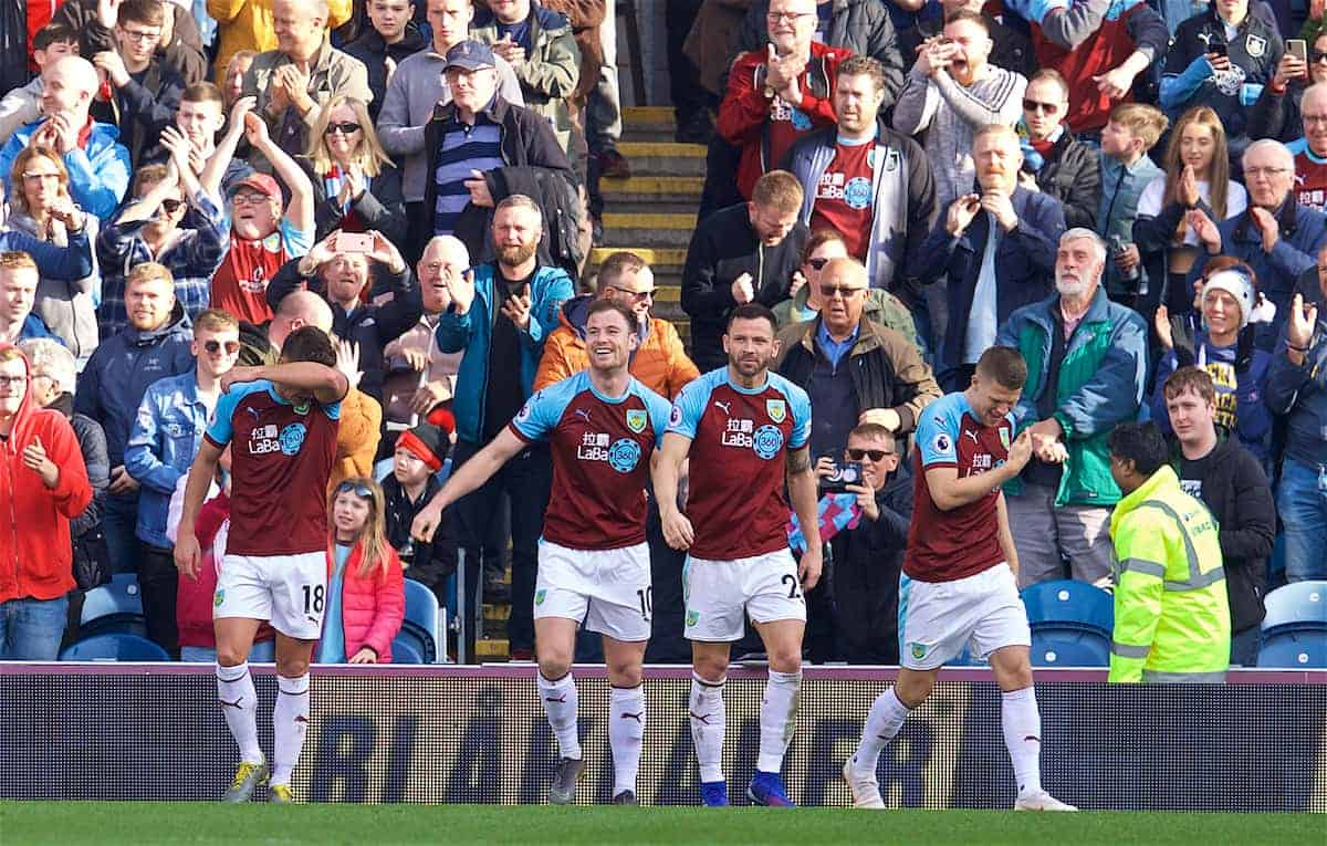 BURNLEY, ENGLAND - Saturday, February 23, 2019: Burnley's Ashley Barnes (#10) celebrates after scoring the second goal during the FA Premier League match between Burnley FC and Tottenham Hotspur FC at Turf Moor. (Pic by David Rawcliffe/Propaganda)