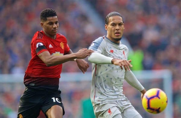 MANCHESTER, ENGLAND - Sunday, February 24, 2019: Manchester United's Marcus Rashford (L) and Liverpool's Virgil van Dijk (R) during the FA Premier League match between Manchester United FC and Liverpool FC at Old Trafford. (Pic by David Rawcliffe/Propaganda)