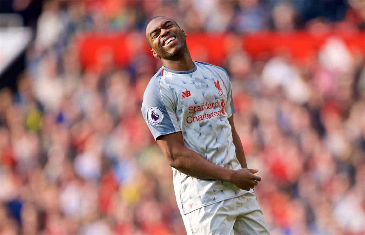 MANCHESTER, ENGLAND - Sunday, February 24, 2019: Liverpool's Daniel Sturridge during the FA Premier League match between Manchester United FC and Liverpool FC at Old Trafford. (Pic by David Rawcliffe/Propaganda)