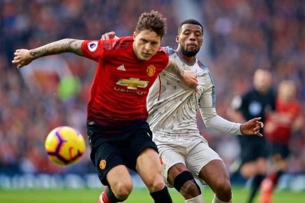 MANCHESTER, ENGLAND - Sunday, February 24, 2019: Manchester United's Victor Lindelöf (L) and Liverpool's Georginio Wijnaldum during the FA Premier League match between Manchester United FC and Liverpool FC at Old Trafford. (Pic by David Rawcliffe/Propaganda)
