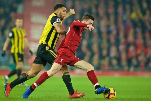 LIVERPOOL, ENGLAND - Wednesday, February 27, 2019: Liverpool's Andy Robertson (R) and Watford's captain Troy Deeney during the FA Premier League match between Liverpool FC and Watford FC at Anfield. (Pic by Paul Greenwood/Propaganda)