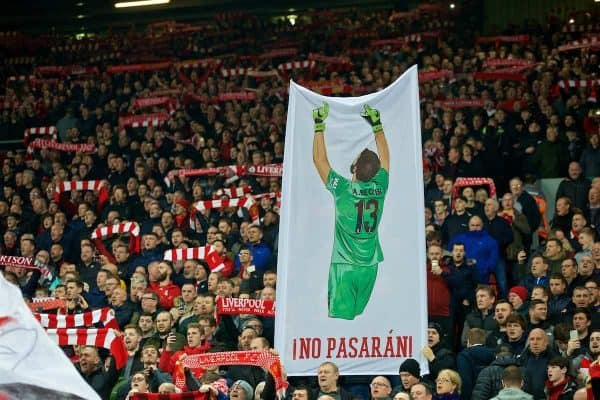 LIVERPOOL, ENGLAND - Wednesday, February 27, 2019: A Liverpool supporters' banner of goalkeeper Alisson Becker on the Spion Kop before the FA Premier League match between Liverpool FC and Watford FC at Anfield. (Pic by Paul Greenwood/Propaganda)