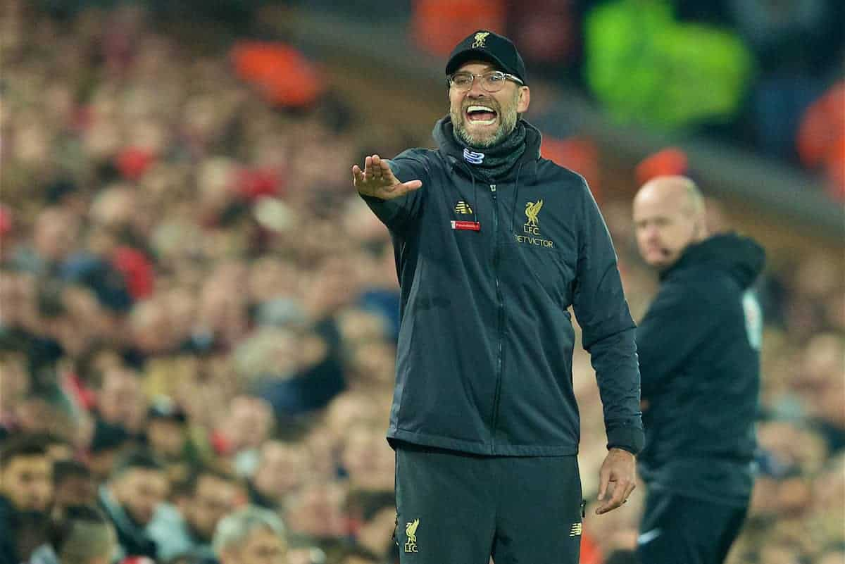 LIVERPOOL, ENGLAND - Wednesday, February 27, 2019: Liverpool's manager Jürgen Klopp reacts during the FA Premier League match between Liverpool FC and Watford FC at Anfield. (Pic by Paul Greenwood/Propaganda)