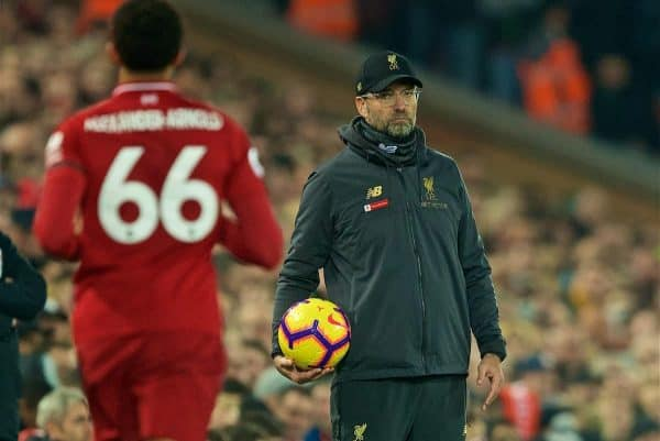 LIVERPOOL, ENGLAND - Wednesday, February 27, 2019: Liverpool's manager Jürgen Klopp and Trent Alexander-Arnold during the FA Premier League match between Liverpool FC and Watford FC at Anfield. (Pic by Paul Greenwood/Propaganda)