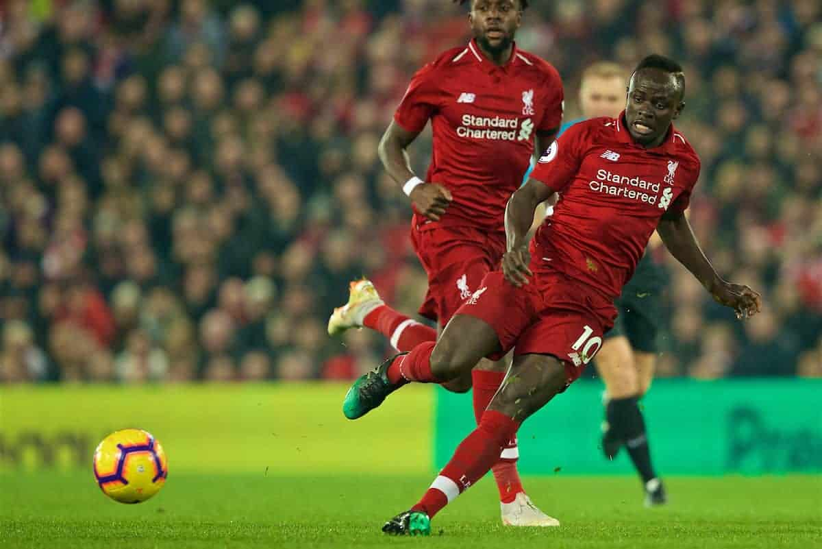 LIVERPOOL, ENGLAND - Wednesday, February 27, 2019: Liverpool's Sadio Mane (R) and Divock Origi during the FA Premier League match between Liverpool FC and Watford FC at Anfield. (Pic by Paul Greenwood/Propaganda)