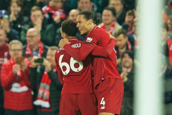 LIVERPOOL, ENGLAND - Wednesday, February 27, 2019: Liverpool's Virgil van Dijk celebrates scoring the fourth goal with team-mate Trent Alexander-Arnold during the FA Premier League match between Liverpool FC and Watford FC at Anfield. (Pic by Paul Greenwood/Propaganda)