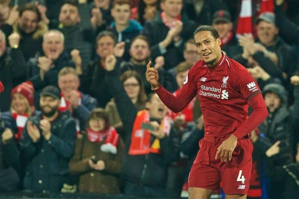 LIVERPOOL, ENGLAND - Wednesday, February 27, 2019: Liverpool's Virgil van Dijk celebrates scoring the fifth goal, his second of the game, during the FA Premier League match between Liverpool FC and Watford FC at Anfield. (Pic by Paul Greenwood/Propaganda)
