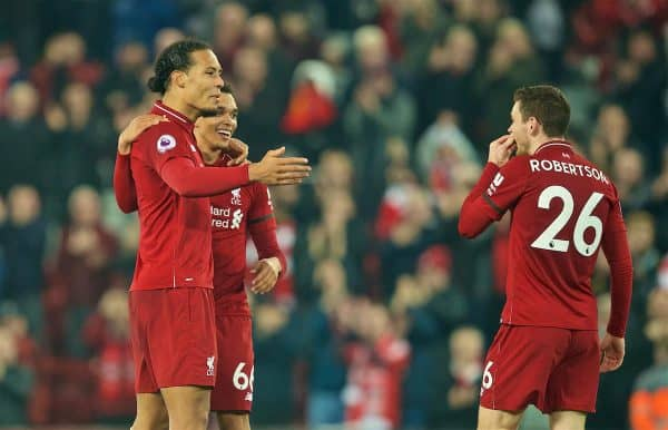 LIVERPOOL, ENGLAND - Wednesday, February 27, 2019: Liverpool's two goal hero Virgil van Dijk (L) and man-of-the-match that Trent Alexander-Arnold (who created three goals) celebrate with Andy Robertson at the final whistle during the FA Premier League match between Liverpool FC and Watford FC at Anfield. Liverpool won 5-0. (Pic by Paul Greenwood/Propaganda)
