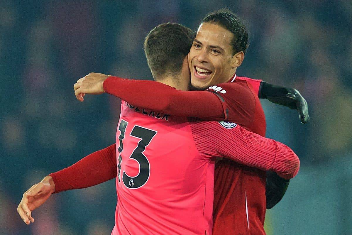 LIVERPOOL, ENGLAND - Wednesday, February 27, 2019: Liverpool's two-goal hero Virgil van Dijk celebrates with goalkeeper Alisson Becker at the final whistle during the FA Premier League match between Liverpool FC and Watford FC at Anfield. Liverpool won 5-0. (Pic by Paul Greenwood/Propaganda)