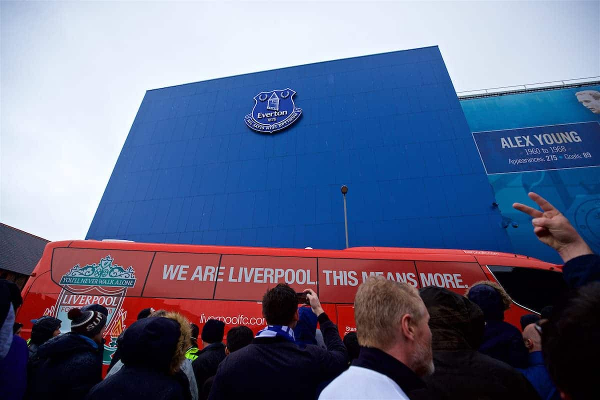 LIVERPOOL, ENGLAND - Sunday, March 3, 2019: The Liverpool team coach arrives before the FA Premier League match between Everton FC and Liverpool FC, the 233rd Merseyside Derby, at Goodison Park. (Pic by Paul Greenwood/Propaganda)