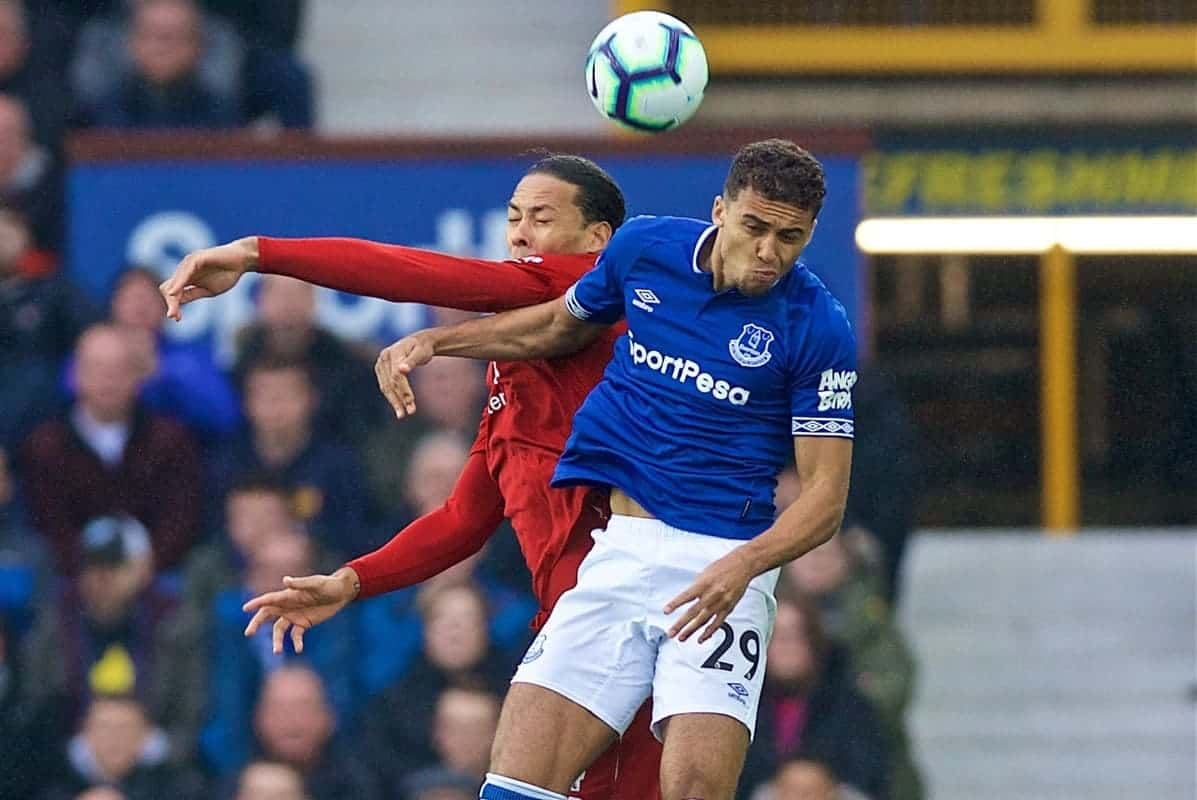 LIVERPOOL, ENGLAND - Sunday, March 3, 2019: Liverpool's Virgil van Dijk and Everton's Dominic Calvert-Lewin during the FA Premier League match between Everton FC and Liverpool FC, the 233rd Merseyside Derby, at Goodison Park. (Pic by Laura Malkin/Propaganda)
