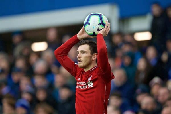 LIVERPOOL, ENGLAND - Sunday, March 3, 2019: Liverpool's Andy Robertson takes a throw-in during the FA Premier League match between Everton FC and Liverpool FC, the 233rd Merseyside Derby, at Goodison Park. (Pic by Laura Malkin/Propaganda)