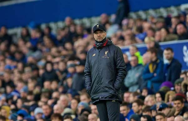 LIVERPOOL, ENGLAND - Sunday, March 3, 2019: Liverpool's manager Jürgen Klopp during the FA Premier League match between Everton FC and Liverpool FC, the 233rd Merseyside Derby, at Goodison Park. (Pic by Laura Malkin/Propaganda)