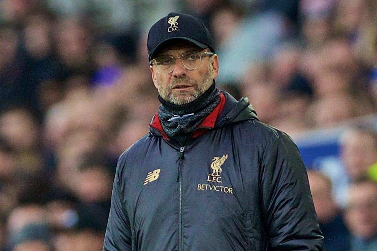 LIVERPOOL, ENGLAND - Sunday, March 3, 2019: Liverpool's manager J¸rgen Klopp during the FA Premier League match between Everton FC and Liverpool FC, the 233rd Merseyside Derby, at Goodison Park. (Pic by Laura Malkin/Propaganda)