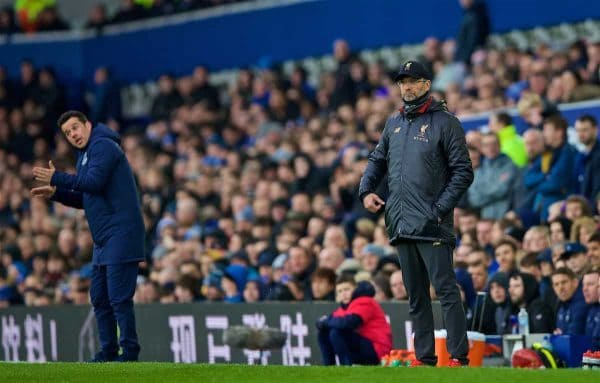 LIVERPOOL, ENGLAND - Sunday, March 3, 2019: Liverpool's manager Jürgen Klopp (R) and Everton's manager Marco Silva (L) during the FA Premier League match between Everton FC and Liverpool FC, the 233rd Merseyside Derby, at Goodison Park. (Pic by Laura Malkin/Propaganda)