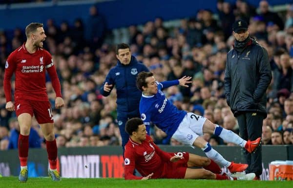 LIVERPOOL, ENGLAND - Sunday, March 3, 2019: Liverpool's Trent Alexander-Arnold tackles Everton's Bernard Anício Caldeira Duarte during the FA Premier League match between Everton FC and Liverpool FC, the 233rd Merseyside Derby, at Goodison Park. (Pic by Laura Malkin/Propaganda)