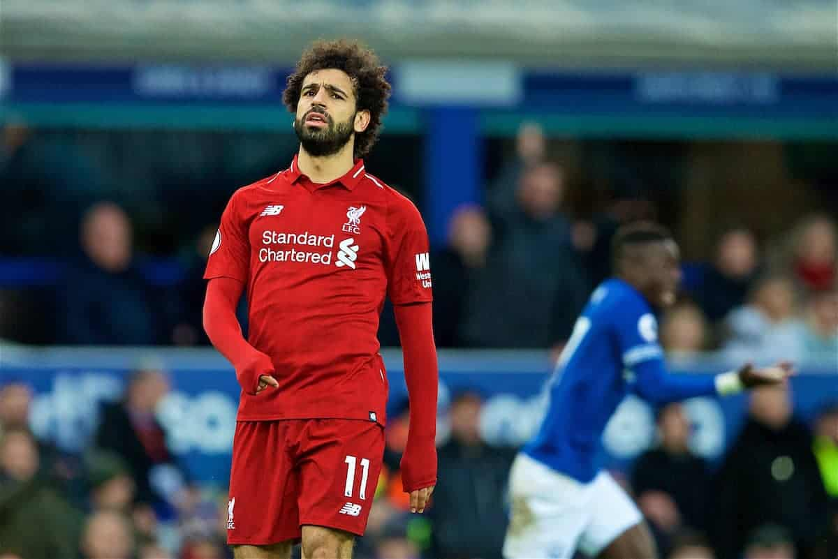 LIVERPOOL, ENGLAND - Sunday, March 3, 2019: Liverpool's Mohamed Salah looks dejected during the FA Premier League match between Everton FC and Liverpool FC, the 233rd Merseyside Derby, at Goodison Park. (Pic by Paul Greenwood/Propaganda)
